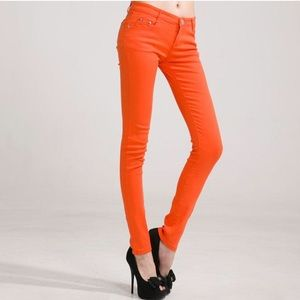 Zara Slim Fit Color Skinny Jeans Orange Pop